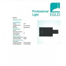 Трековые системы Eglo Power feed right for recessed track 60748